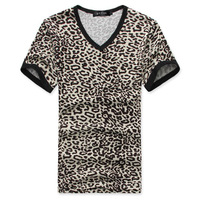 2013 fashion new men  short-sleeve t-shirt men  personalized tight-fitting non-mainstream  leopard print t-shirt