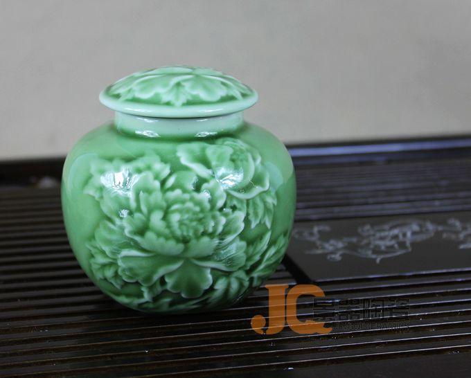 Longquan celadon caddy chá jogo de chá combinando peças escultura peônia chá vasilha(China (Mainland))