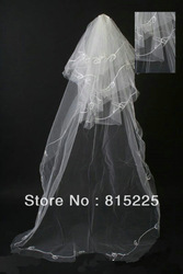 2013Vogue Floor Length Wedding Accessories Bridal Decoration Multi Layer White Color Ribbon Edge Low Price Hot Sell(China (Mainland))