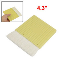 "5 Pcs 4.3"" Wide Light Yellow Plastic Handle Grip White Faux Wool Painting Paintbrush Free shipping"
