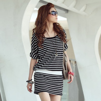 Black and white stripe shirt casual sports t-shirt slim waist one-piece dress slim hip basic short skirt summer  Free shipping