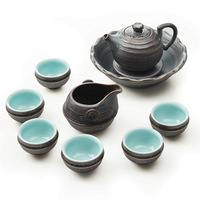 Fine ceramics tea set kiln gold ferroxyl glaze pot high quality