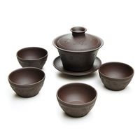 Yixing tea ore tank handmade tureen five pieces set wufu two-color