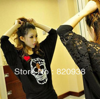 Spring new Korean Women lace stitching bat sleeve skull fashion long-sleeved T-shirt female models t shirt bottoming shirt