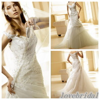 Free shipping  Elegance Princess style Custom made organza pleats with lace emboridry  V neckline Wedding dress  W1953