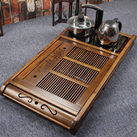 Four in one induction cooker chicken wing wood tea tray solid wood big tea sea pallet kung fu tea teaberries tea sets