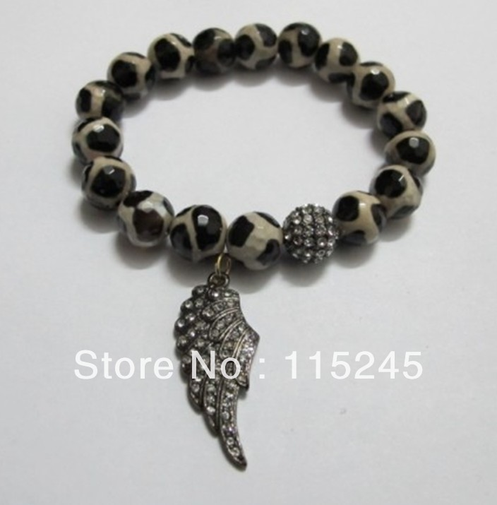 Free Shipping Unique Agate Beads Fashion Crystal Jesus Jewelry Rhinestone Wings Bracelets BC212(China (Mainland))