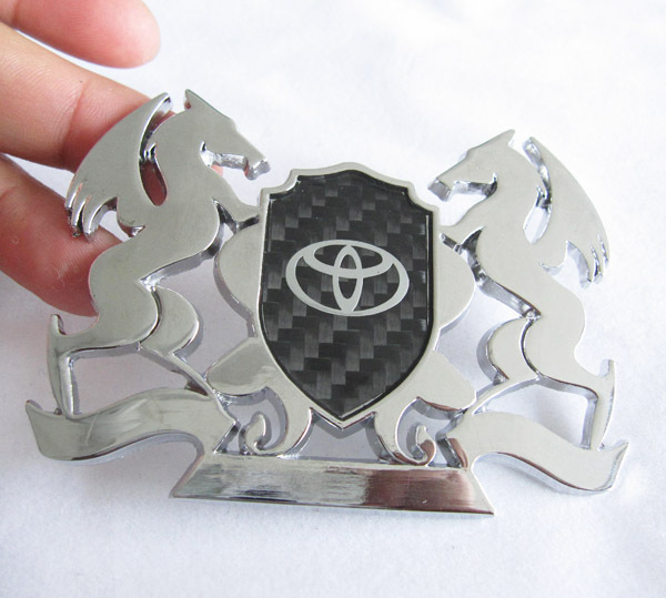 Automobile Carbon Fiber Car Front Racing Grills Metal 3D Badge Chrome Emblem Sticker For Toyota(China (Mainland))