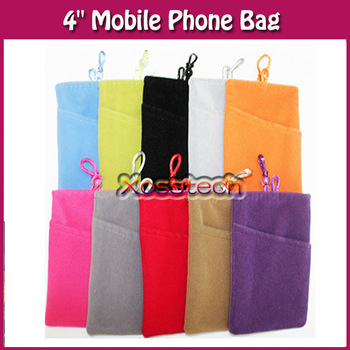 """Wholesale 10 Pcs Cell Phone Soft Cloth Sleeve Case Bag Pouch Cover Skin For 4"""" Mobile Phone"""