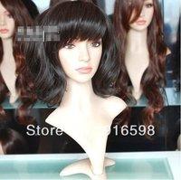 Free shipping Cute Medium long black Fluffy wavy Party Hair WIG   Y84