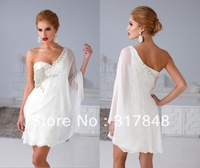 Glamorous fashion beautiful free shipping new arrival white one shoulder shawl beaded chiffon short cocktail party dresses CD186