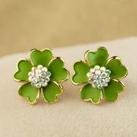 Camellia stud earring cushiest no pierced earrings female accessories gift a5201