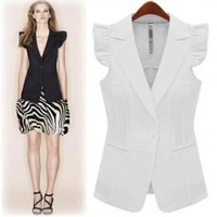 Free Shipping 2013 spring and summer fashion all-match one button slim small butterfly sleeve suit vest outerwear vest