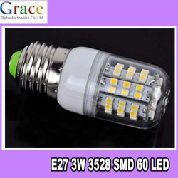 Free Shipping 10pcs/Lot New 1x SMD 3528 60 LED Light E27 Bulb Lamp Warm White 200V-240 With Transparent Cover(China (Mainland))