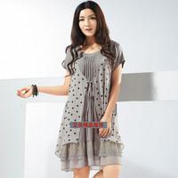 Free Shipping 2013 women's one-piece dress plus size plus size plus size mm women's chiffon one-piece dress