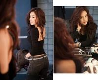 Free Shipping Fashion sexy big racerback o-neck slim long-sleeve top 2013 female leopard print basic t shirt black