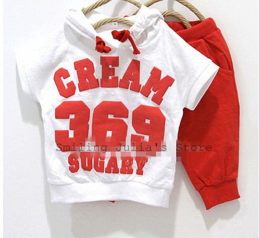 "100% Cotton boy girl clothing sets "" hoodies + half pants"" two-piece baby suits Smiling Julia Store Free ship 620101J(China (Mainland))"
