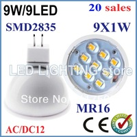 20pcs LED Light Bulb E27/GU10/MR16 AC/DC12V 9W SMD2835 Lamp Spotlight Cool/Warm White New energy saving led bulb