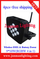 4pcs Wireless DMX&Battery Power9*10W(RGBW 4 in 1) LEDPar Light Led Par64  Led Stage Lighting Free Shipping