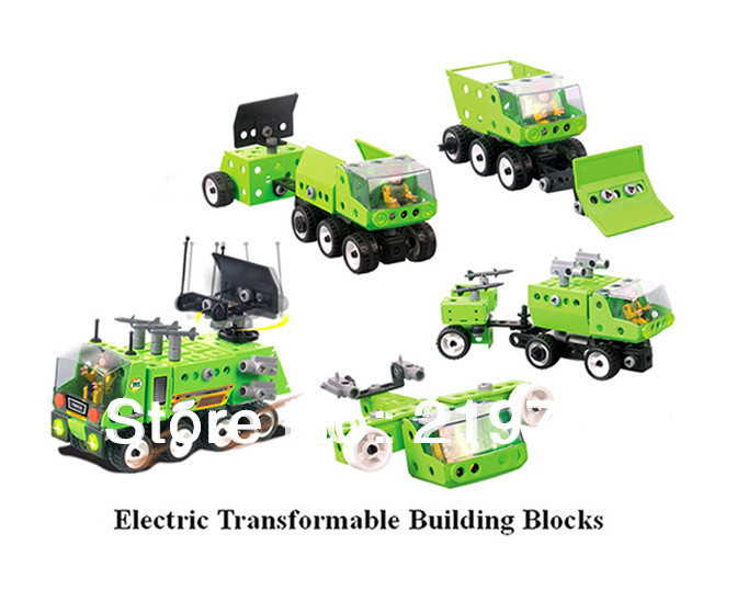 DIY handmade Electric transformable building blocks one to five plastic electric missile car model robot children's DIY toy(China (Mainland))