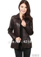 Low price! Free Shipping! Ms spring 2013 Fashion high quality Sheepskin leather coat Brown Red. L -5XL