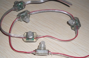 100pcs DC12V WS2811 LED pixel node,with transparent wire;size:L26mm*W18mm*H22mm
