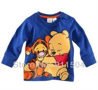 Free shipping kids clothes t-shirt 5pcs/lot cartoon tiger 100% cotton long sleeve t-shirts fashion children clothing