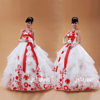 Features new roses embroidered wedding bride wedding wedding noble and beautiful bride dress