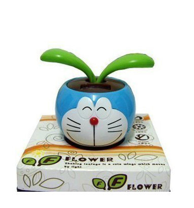 doraemon solar dancing flower car accessories novelty flower solar powered dancing toy Free Shipping(China (Mainland))