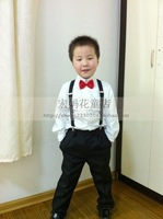 Child costume male child formal dress trousers shirt black western-style trousers shirt suspenders bow tie