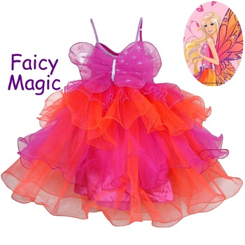 Child princess dress female child puff skirt dance costume rose tulle dress