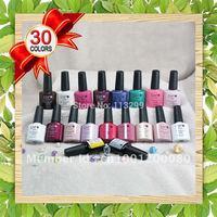 Free Shipping 2014 Lastest Edition 10pcs Nail Art Polish LED UV Gel 36 Colors 7.3ml Soak Off Lacquer (8pcs colors+1top+1base )