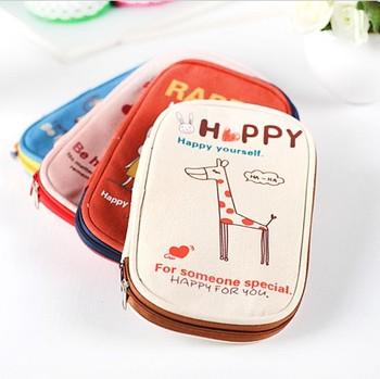 Korea stationery cartoon animal brief canvas pencil case student pencil stationery bags