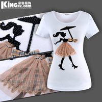 Free shipping 2013 women's Pearl girls sweet young girl slim short-sleeve summer t-shirt plus size