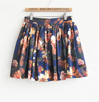 Freeshipping new arrival 2013 slim printed  broken flower skirt  high waist  mini skirt pleated princess angle skirt