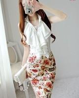 New 2014 Slim Fit Ruffles Sleeveless Turn-down Collar Solid White Black Drss Shirt Women Falbala Blouses