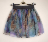 Freeshipping new arrival 2013 spring and summer vintage high waist  galaxy mini skirt half-length skirt  chiffon  leopard print