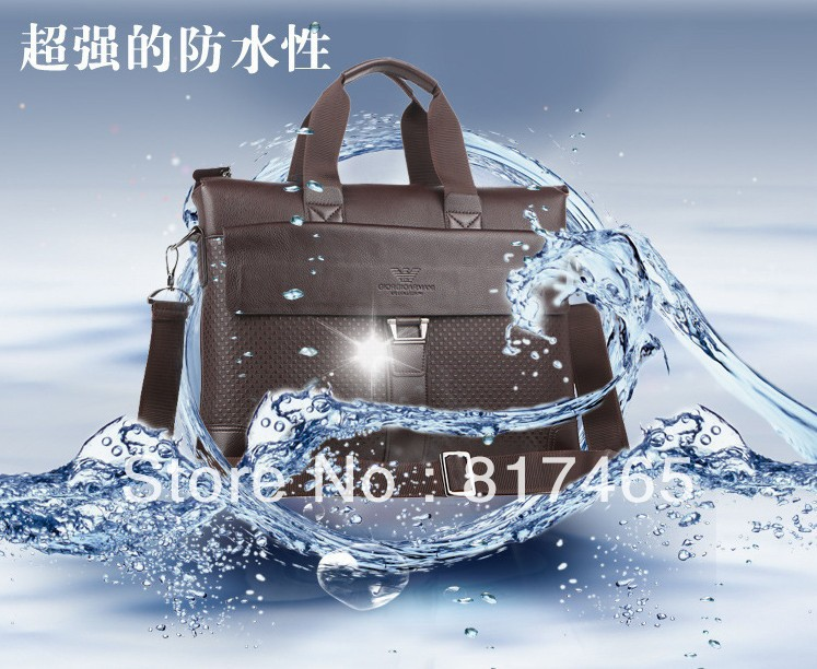 2013 New Designer Laptop Handbag for Men Real Leather Briefcase Luxury Bookbag Portfolio Brown Bag Competitive First Choice Bag(China (Mainland))