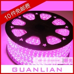 Led strip Pink 3528 led strip waterproof smd led with led super bright 60 beads 220v strip(China (Mainland))