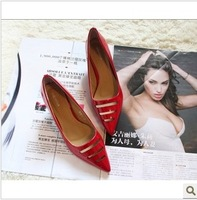 Fashion elegant ol white all-match japanned leather cutout women's shoes pointed toe shoes