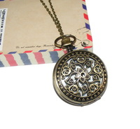 Minimum order 50$ : Vintage Large size flower pocket watch / necklace/jewelry gft accessories L103-8