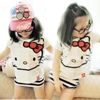2013 free shipping! 5set/lot children's stripe vest+hello kitty short-sleeve t-shirt