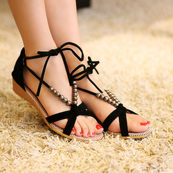 2013 flat heel sandals shoes beaded lacing gladiator small wedges shoes 3 color casual shoes size 35-40 free shipping(China (Mainland))