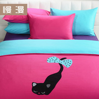 Fedex free shipping! Plain embroidered home textile 4 piece set 100% cotton sheets fitted cat bedding