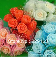 min order $10 Free shipping Dia1.5-.2.0cm 100pcs/bag  PE artificial rose flower / Gife box decoration / ornament foam flower