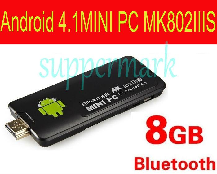 New arrival Rikomagic MK802 IIIS Bluetooth Dual Core CPU Android 4.1.1 Mini PC HDMI TV Box 1GB RAM 8G ROM Freeshipping(China (Mainland))