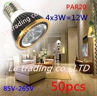 50Pcs/lot Par20 Led Lamp E27 Dimmable 4X3W 12W Spotlight Led Light Led Bulbs 85V-265V Energy Saving Free shipping