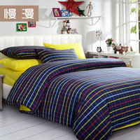 fedex free shipping! Textile 100% cotton yarn dyed check bed sheet four piece set cotton 100% at home bedding small checked