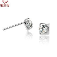 Hearts and arrows cubic zircon zirconium single 925 pure silver stud earring male female 20888 - 148
