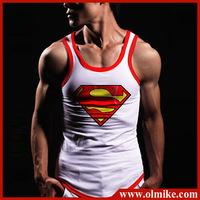 Mens fashion superman Tank Tops for summer boys Sexy Sleeveless T Shirts Tops Tees Male Printted Singlet Cotton Vest Asia S-XXXL